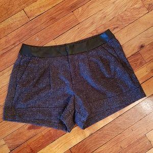 ELLE Faux Leather Trim Tweed Shorts